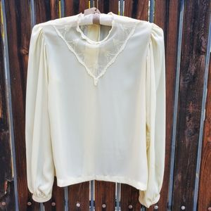 Vintage Shapely Sheer Cream Lace Neck Blouse 6